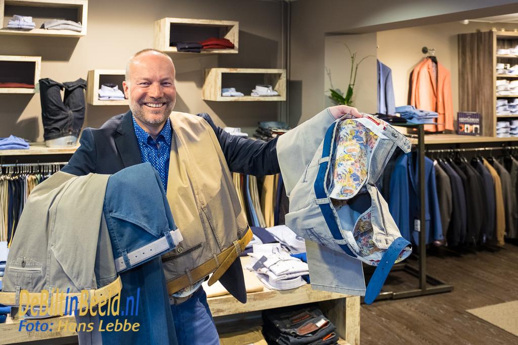 Marco Wortel van Sir John Bilthoven Menswear met een voorjaarscollectie broeken