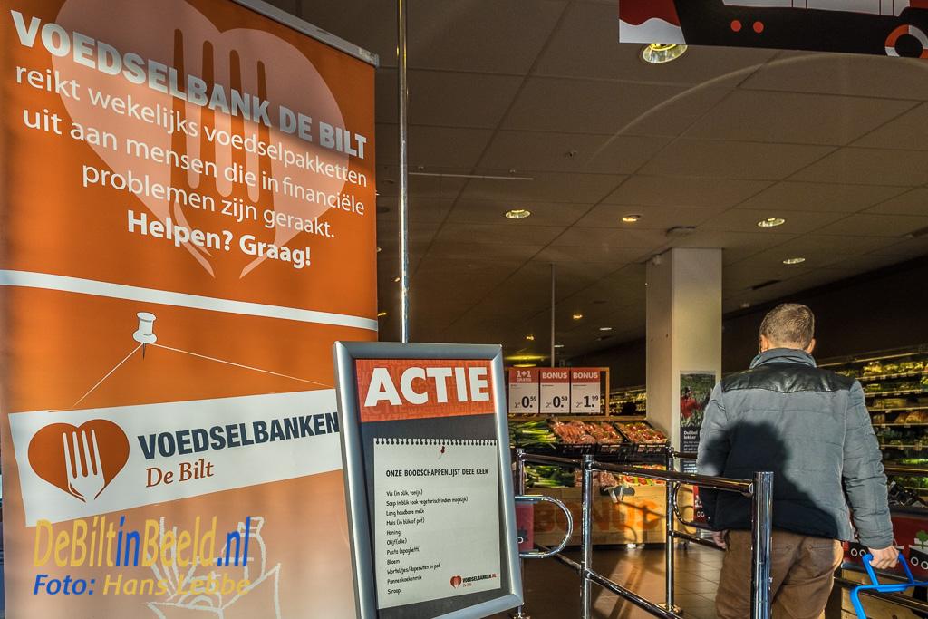 Bij de ingang stond de actie aangegeven en waar Voedselbank De Bilt naar op zoek was