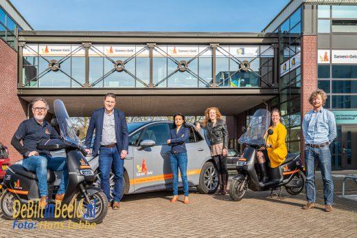 Samen in Geld 200ste Project. Met de volledig elektriische voertuigvloot op de foto. Foto: Hans Lebbe / HLP images